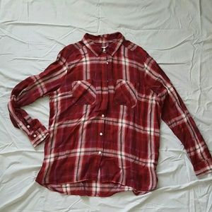WORN ONCE. Plaid button down shirt